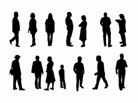 how to section a person full length people silhouette outlines