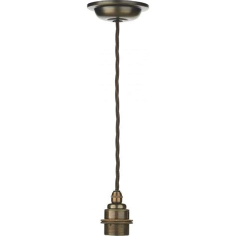 Pendant Lighting Accessories Pendant Suspension Kit In Antique Brass With Braided Brown Cable