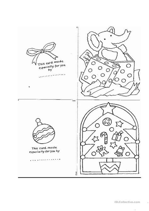 printable christmas card worksheets christmas card templates worksheet free esl printable