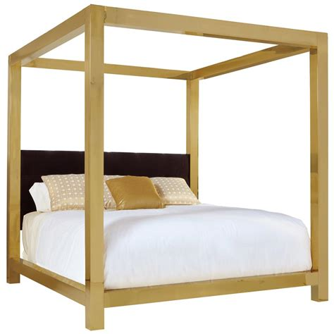 Astoria Hollywood Regency Brass Upholstered King Canopy Canopy Beds