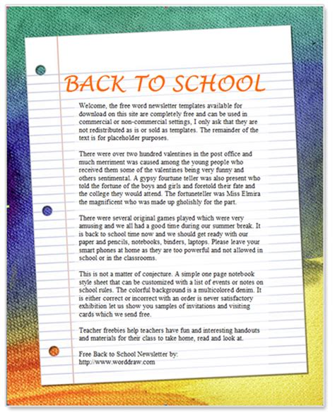 Back To School Newsletter Template For Microsoft Word By Worddraw Com Word Document Newsletter Templates Free