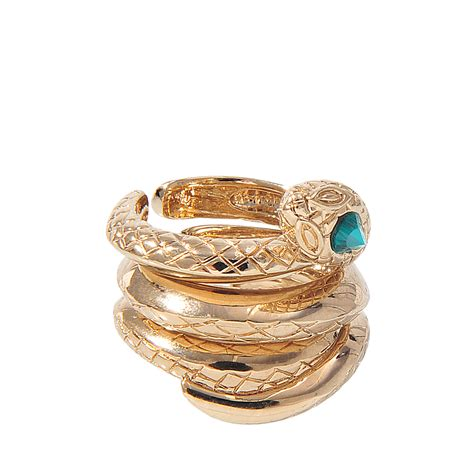Roberto Cavallis Green Malachite Serpent Ring by Roberto Cavalli Set Of 3 Snake Rings In Gold Save 77 Lyst