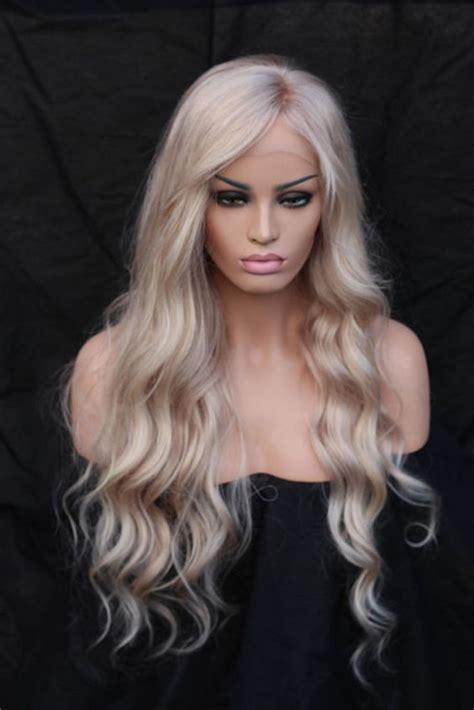 hair blonde front black back european 100 real human hair wigs blonde long wavy lace
