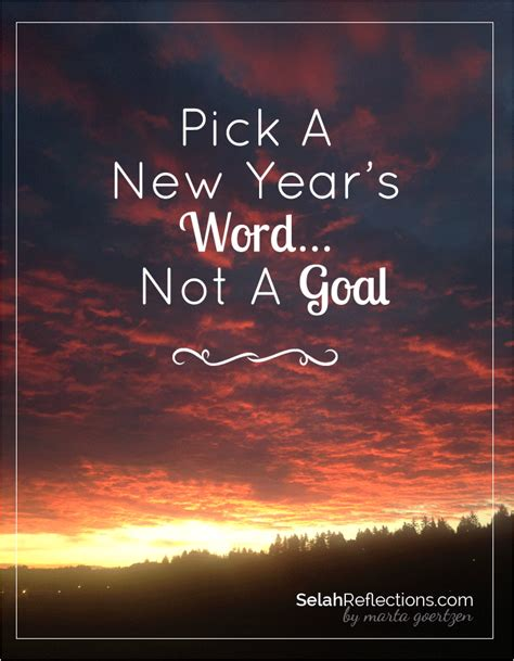 pick a new year s word not a goal selah reflections