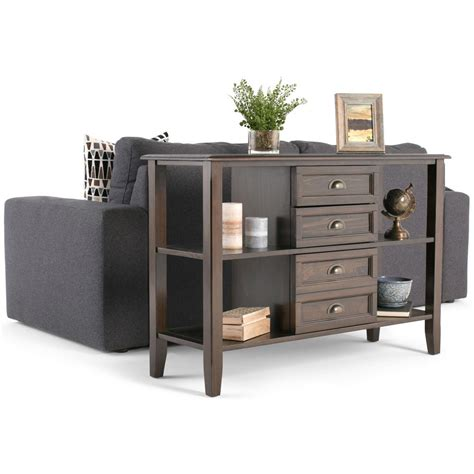 storage sofa table simpli home burlington rich espresso storage console table