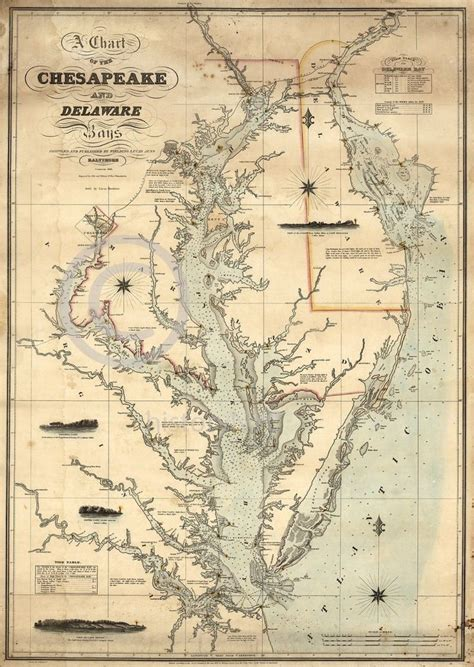nautical map tattoo 1862 nautical chart map chesapeake delaware bay vintage
