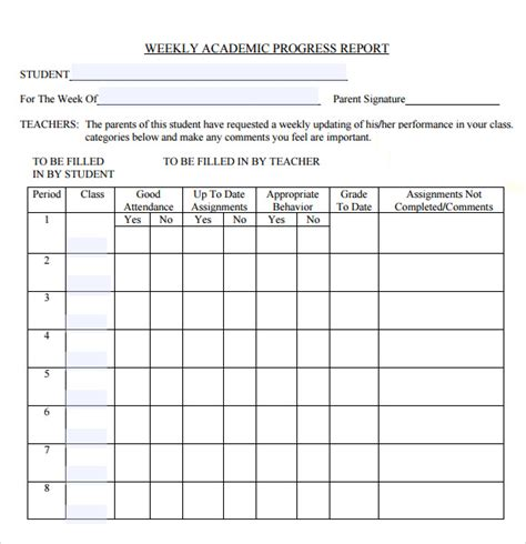 weekly progress report template elementary school sle weekly progress report template 8 free documents