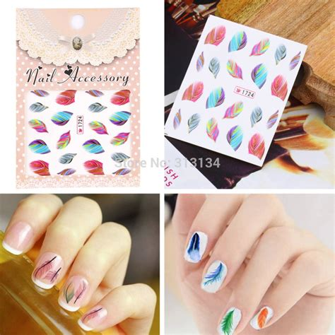 Nail Sticker Water Decal Stiker Kuku Nail 32 20pcs colorful feather nail decal water transfer stickers fashion nail tips