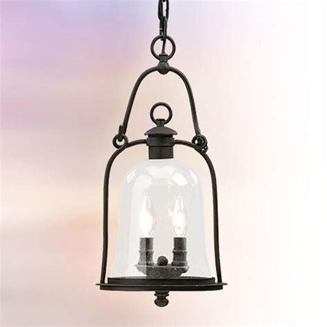 Glass Lantern Pendant Light Glass Bell Outdoor Hanging Lantern 2 Light