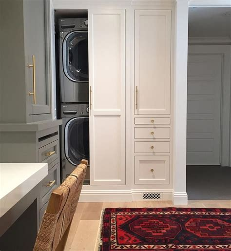 concealed washer and dryer concealed stacked laundry shea mcgee design laundry