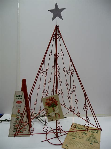 vintage red metal christmas tree card holder 32 by