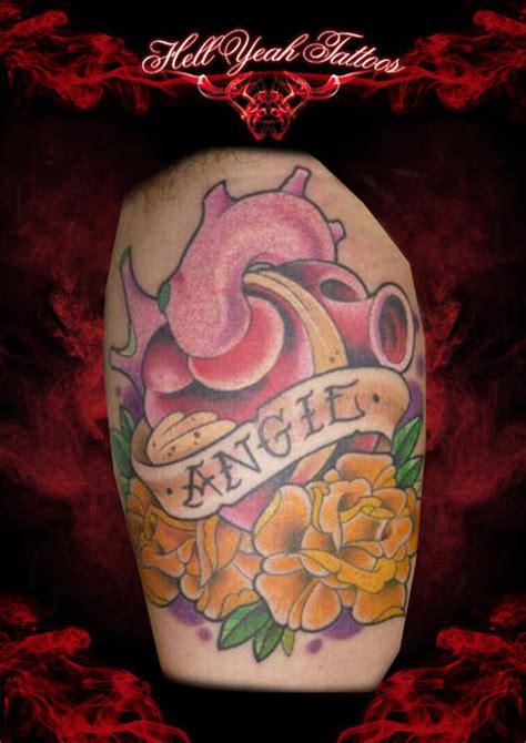 new school tattoo lettering arm new school heart flower lettering tattoo by hellyeah