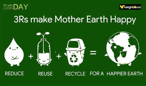 reduce reuse recycle shareonwall com earthdayeveryday 3rs make mother earth happy reduce