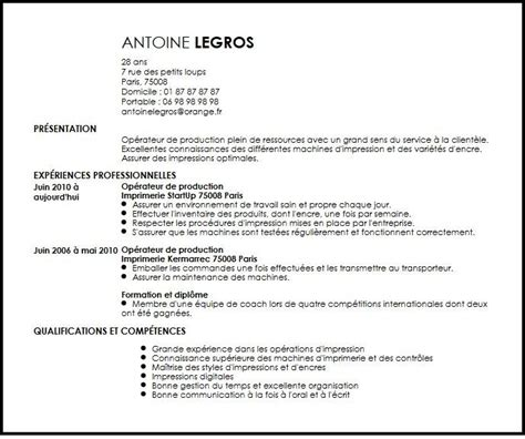 Lettre De Motivation De Operateur De Production Cv Operateur De Production En Imprimerie Exemple Cv