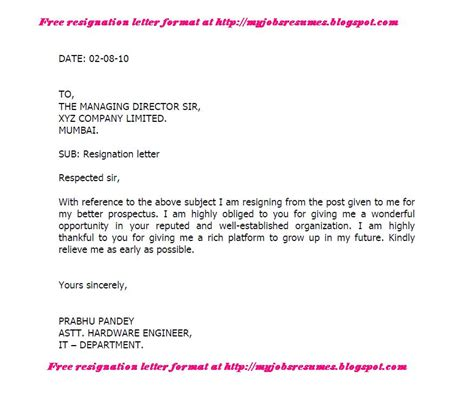 I Resign Letter by Fresh And Free Resume Samples For Resignation Letter Format