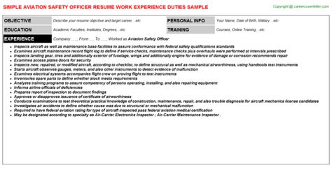 Aviation Safety Officer Cover Letter by Aviation Safety Officer Title Docs Descriptions And Duties