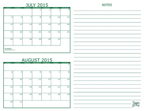 Calendar 2015 July To December 2 Month Calendar 2015