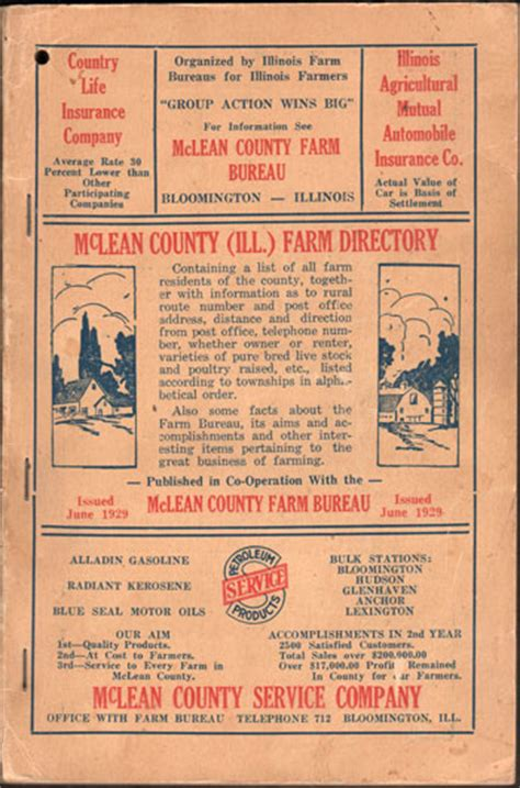 Mclean County Divorce Records Mclean County Illinois Farm Directory 1929 Book