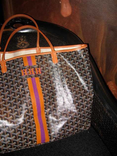 goyard tote bags personalized goyard tote with stripes monogrammed trunks pinterest