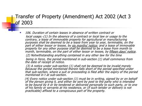 section 106 transfer of property act amendment in section 106 of the tp act