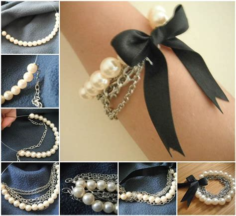 creative ideas diy chained pearl ribbon bow bracelet