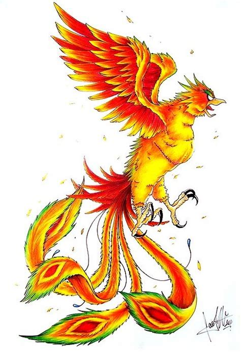 angry fire color phoenix with green eyebrows and tail