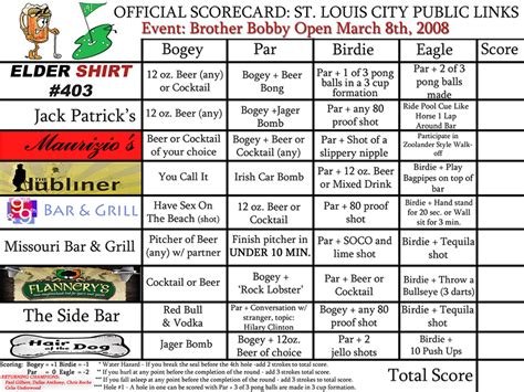 barcrawl card template pub golf pub golf score cards for pub golfing at
