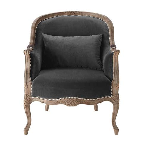 fauteuil en velour fauteuil en velours anthracite montpensier maisons du monde