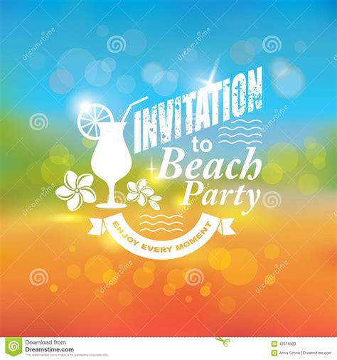 Beach House Plans Free invitation to beach party stock vector image 42616983