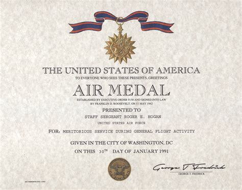 air medal certificate replacement award certificate