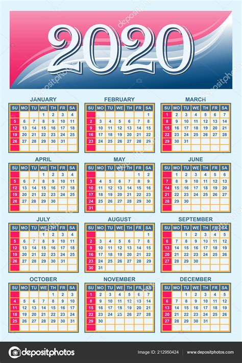 plantilla red estadounidense calendario  vector vector de stock  dmitrydesign