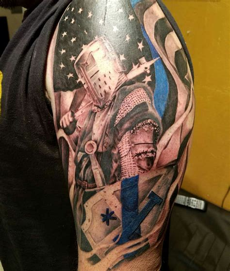 law enforcement tattoo 1 asterisk thin blue line