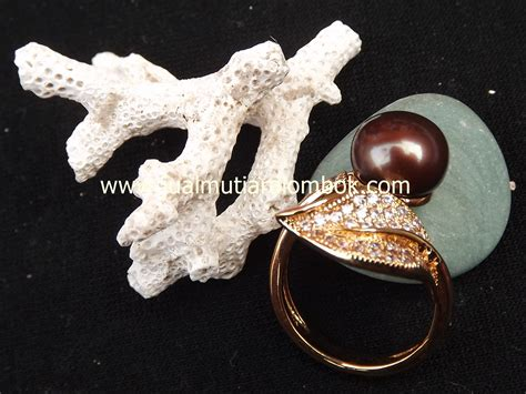 Cincin Rhodium Mutiara Air Laut 45 cincin mutiara lombok crmt 10 jual mutiara lombok murah