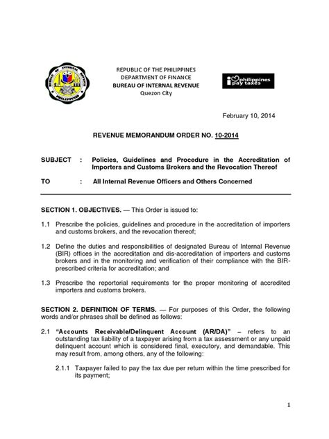 Letter Of Intent Format For Efps Bir Revenue Memorandum Order 10 2014