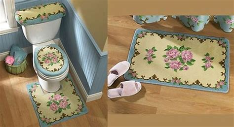 victorian bathroom rugs victorian blue pink rose design bathroom rug bath mat set