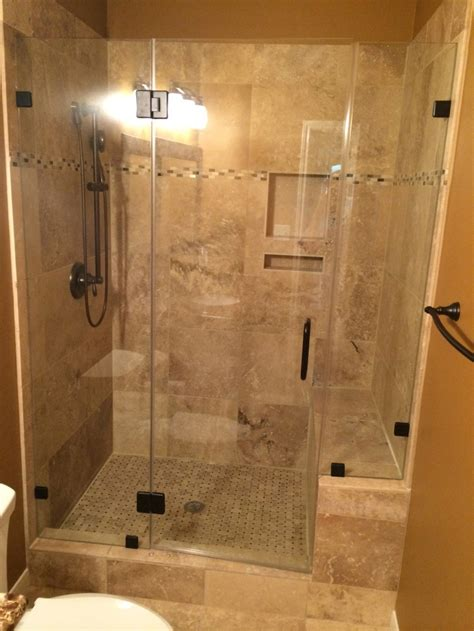 Travertine Tub to shower conversion Bathroom Remodeling project in Austin Tx Vintage Modern