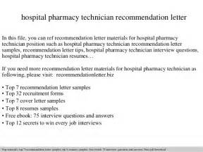 Cover Letter Sle For Pharmacy Technician by Hospital Pharmacy Technician Recommendation Letter