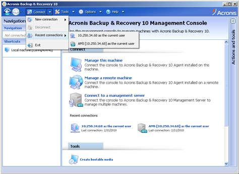 acronis console acronis backup recovery 10 advanced removing quot recent