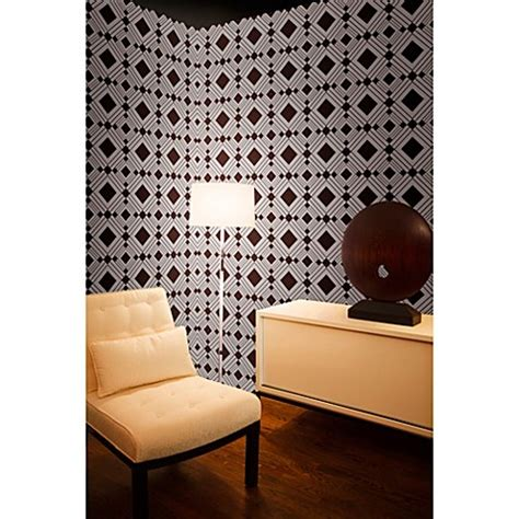 bed bath and beyond wallpaper tempaper 174 removable wallpaper in diamond chocolate bed