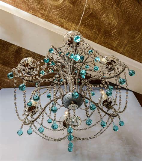 italian beaded arm six light chandelier with turquoise