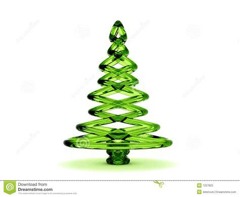 3d green glass christmas tree stock photography image
