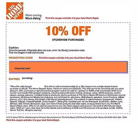 home depot code coupon save up to 200 in store only