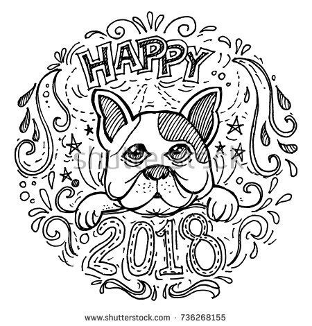 new year themed coloring pages happy new year 2018 created doodling stock vector