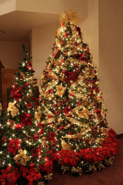 gold ribbon themes red and gold christmas tree with jeweled fruit gold