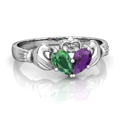 lab emerald and amethyst claddagh ring r2388 wceam
