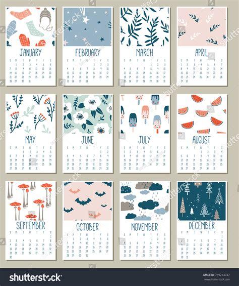 doodle free calendar modern creative calendar 2018 templates stock vector