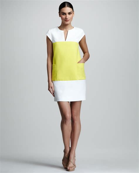 Colour Block Dresses by Kate Spade Hana Cap Sleeve Colorblock Dress In Yellow