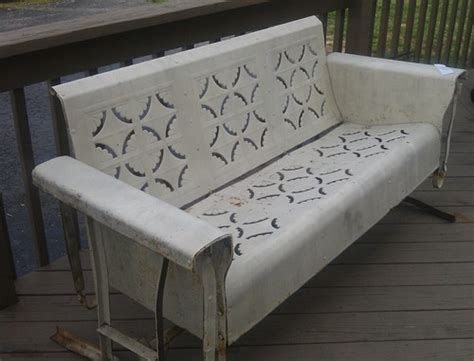 retro glider bench details about vintage metal patio porch glider furniture