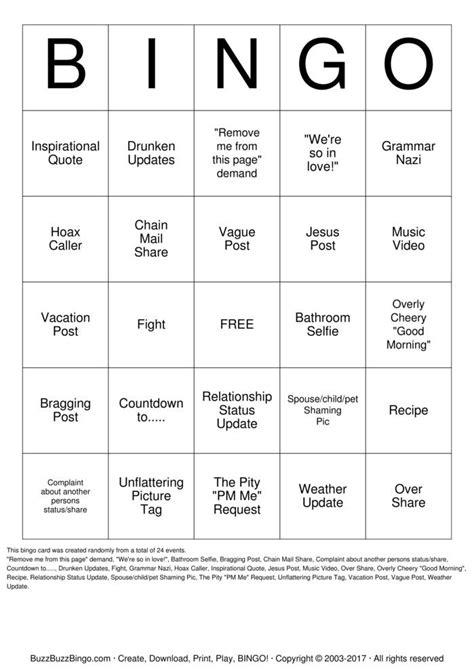 facebook bingo bingo cards   print  customize