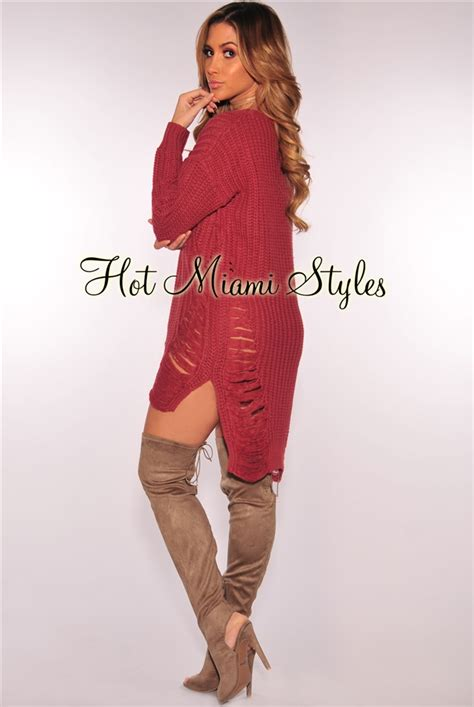 Ripped Knit mauve ripped knit sleeves sweater